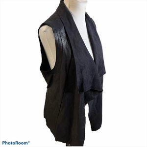 Dex faux leather and suede open front vest black L